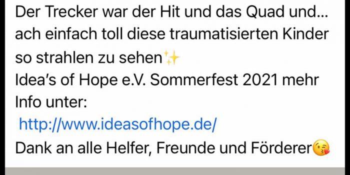 Sommerfest 2021 Ideas of Hope e.V. für traumatisierte Kinder